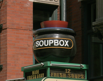 Image shows the 3D Carved Sign for the SoupBox on Chicago ave. in Chicago,IL