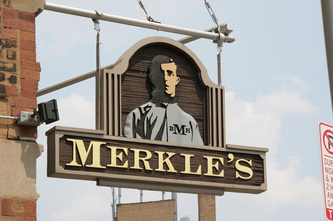 Image of Merkle's Blade Sign in Wrigleyville, Chicago,IL