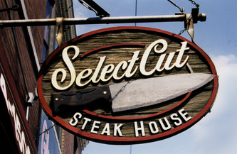 Image for the Blade sign for Select Cut Steak House in Lincoln Park, Chicago, Wood Signs