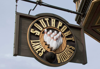 Image of Southport Lanes Sign, Signs Lakeview, Wooden Signs Chicago
