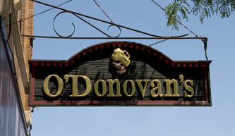 Image shows the custom Hanging Blade sign for O'Donovan's on Irving Park Rd. in Chicago, IL