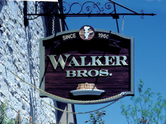 Image of custom sandblasted sign for the Walker Bros. Pancake House in Lake Zurich,IL