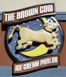 Image of The Brown Cow Ice Cream Parlor Sign in Forest Park,IL  made from High Density Urethane.