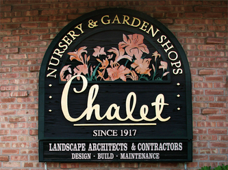Image of Chalet Sign in Glenview,IL Wooden Signs Wisconsin