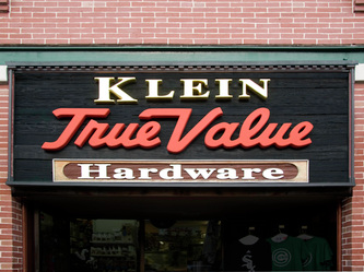 Image of the Facade sign for Klein True Value Hardware on Southport in Chicago, IL