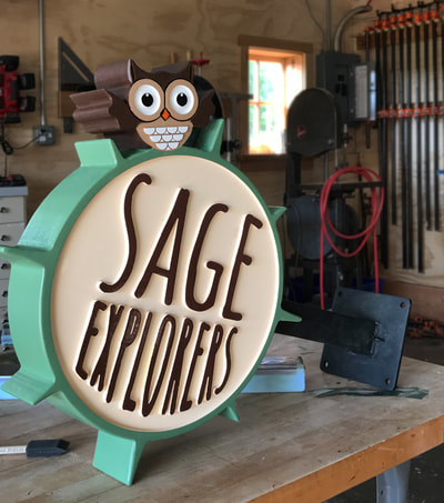 Lake Forest Wooden Signs Sage Explorers Wooden Sign Company CNC Cut Blade Signage Elkhorn Wisconsin North Shore